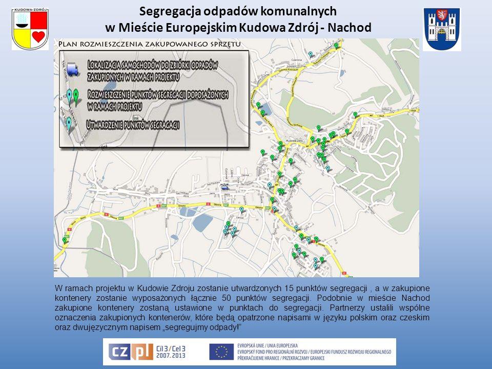 Segregacja odpadów komunalnych w Mieście Europejskim Kudowa Zdrój - Nachod W ramach projektu w Kudowie Zdroju zostanie utwardzonych 15 punktów segregacji, a w zakupione kontenery zostanie wyposażonych łącznie 50 punktów segregacji.