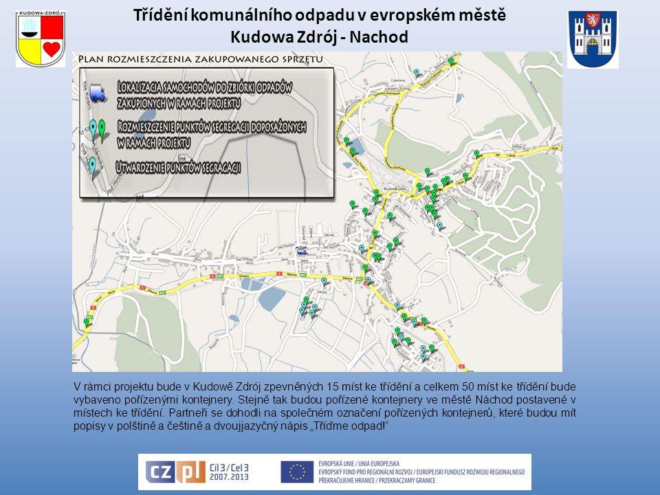 Třídění komunálního odpadu v evropském městě Kudowa Zdrój - Nachod V rámci projektu bude v Kudowě Zdrój zpevněných 15 míst ke třídění a celkem 50 míst ke třídění bude vybaveno pořízenými kontejnery.