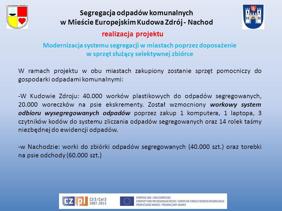 Segregacja odpadów komunalnych w Mieście Europejskim Kudowa Zdrój - Nachod Modernizacja systemu segregacji w miastach poprzez doposażenie w sprzęt służący selektywnej zbiórce W ramach projektu w obu miastach zakupiony zostanie sprzęt pomocniczy do gospodarki odpadami komunalnymi: -W Kudowie Zdroju: 40.000 worków plastikowych do odpadów segregowanych, 20.000 woreczków na psie ekskrementy.