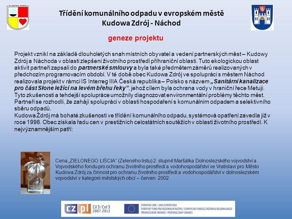 Třídění komunálního odpadu v evropském městě Kudowa Zdrój - Náchod Projekt vznikl na základě dlouholetých snah místních obyvatel a vedení partnerských měst – Kudowy Zdrój a Náchoda v oblasti zlepšení životního prostředí příhraniční oblasti.