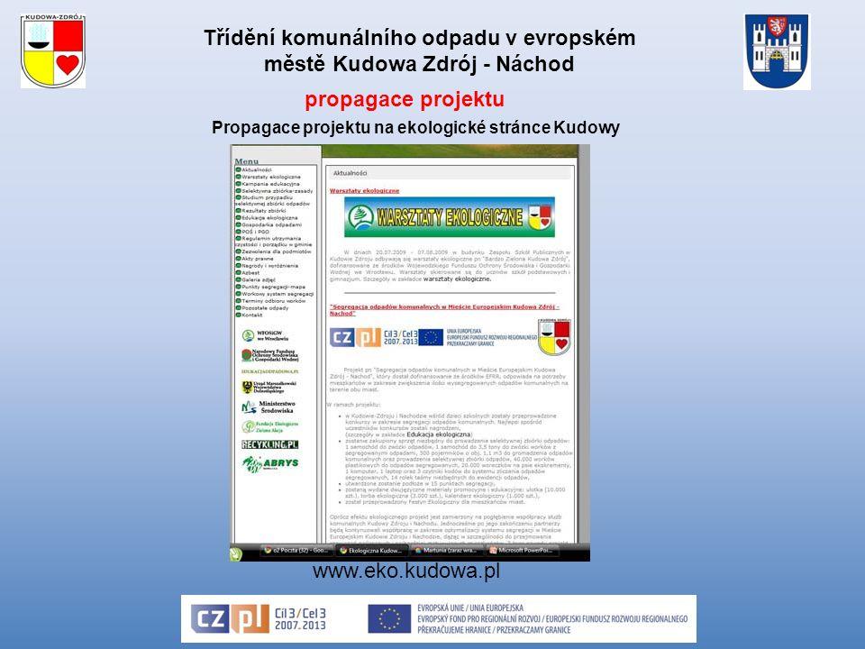 Třídění komunálního odpadu v evropském městě Kudowa Zdrój - Náchod www.eko.kudowa.pl Propagace projektu na ekologické stránce Kudowy propagace projektu