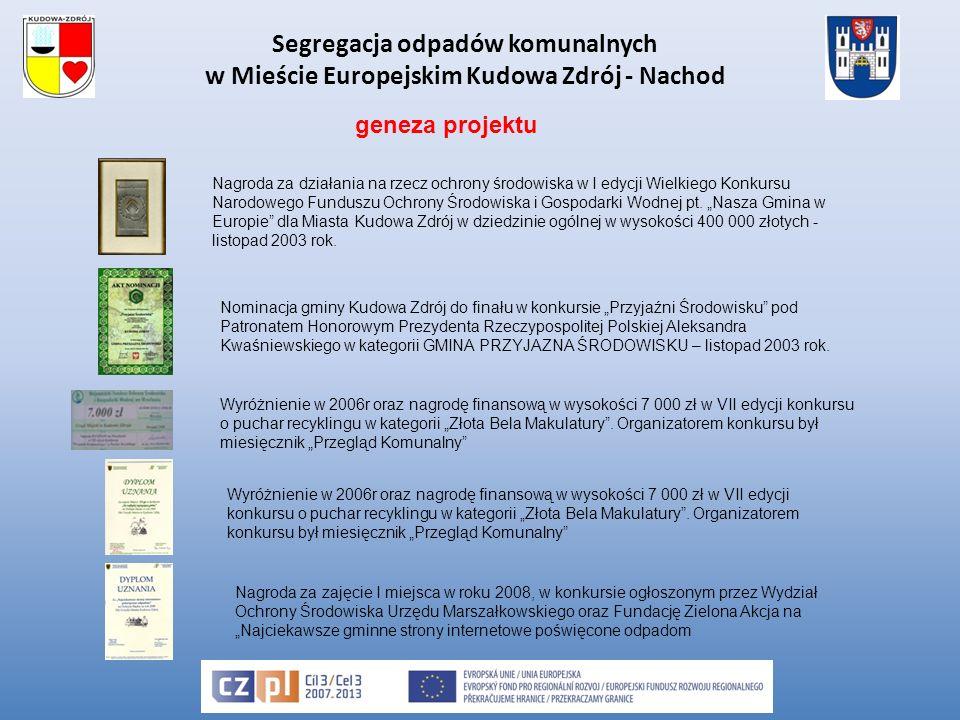 Třídění komunálního odpadu v evropském městě Kudowa Zdrój - Náchod Modernizace systému třídění ve městech pořízením vybavení pro selektivní sběr V rámci projektu se v obou městech pořídí doplňkové vybavení pro hospodaření s komunálním odpadem: -V Kudowě Zdrój: 40.000 plastových pytlů na tříděný odpad, 20.000 pytlíků na psí extrementy.