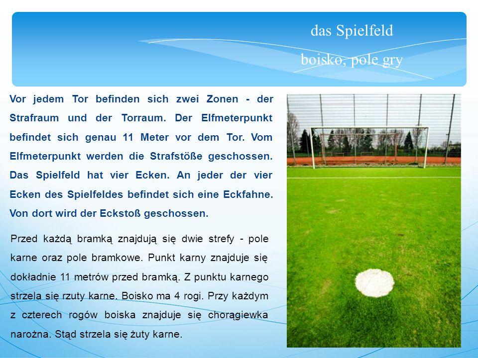 das Spielfeld boisko, pole gry Vor jedem Tor befinden sich zwei Zonen - der Strafraum und der Torraum.