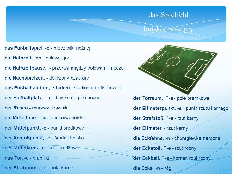 die Mannschaft, das Team, die Elf drużyna, zespół, jedenastka Eine Mannschaft, manchmal auch Team genannt, besteht aus 11 Spielern.