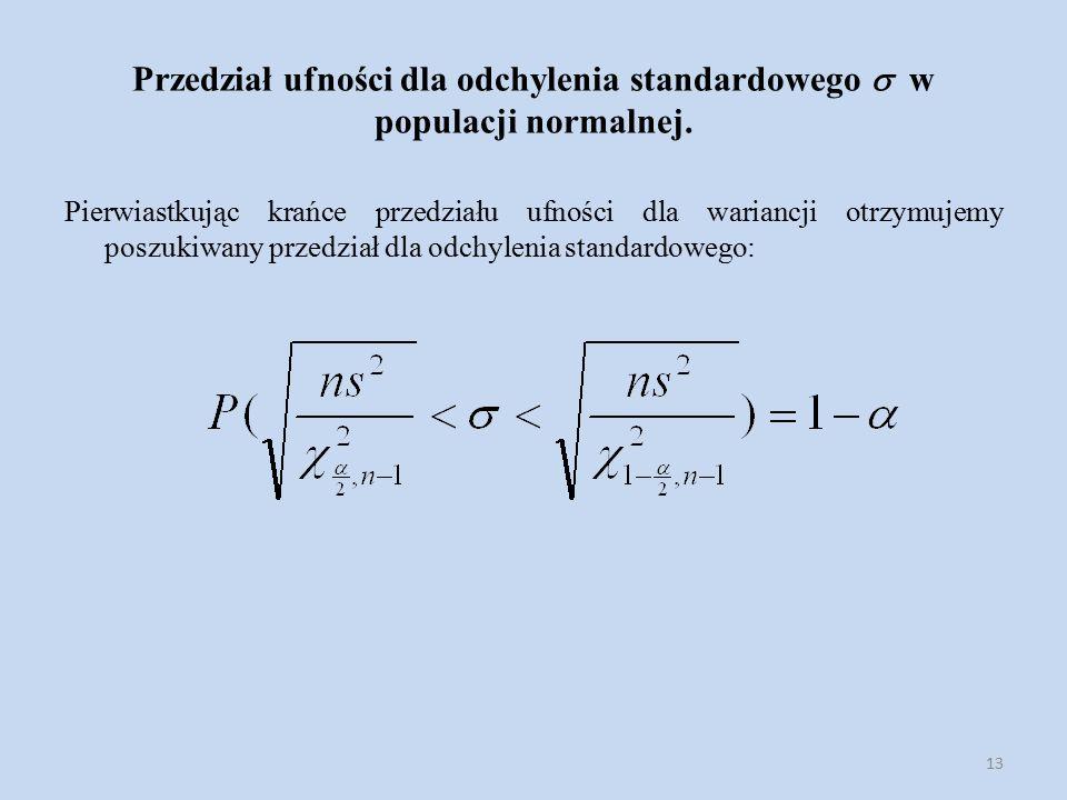 13 Przedział ufności dla odchylenia standardowego  w populacji normalnej.