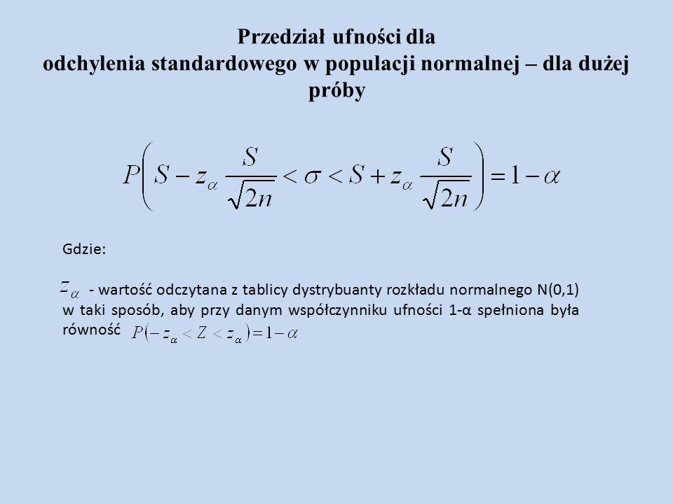 Przedział ufności dla odchylenia standardowego w populacji normalnej – dla dużej próby Gdzie: - wartość odczytana z tablicy dystrybuanty rozkładu normalnego N(0,1) w taki sposób, aby przy danym współczynniku ufności 1-α spełniona była równość