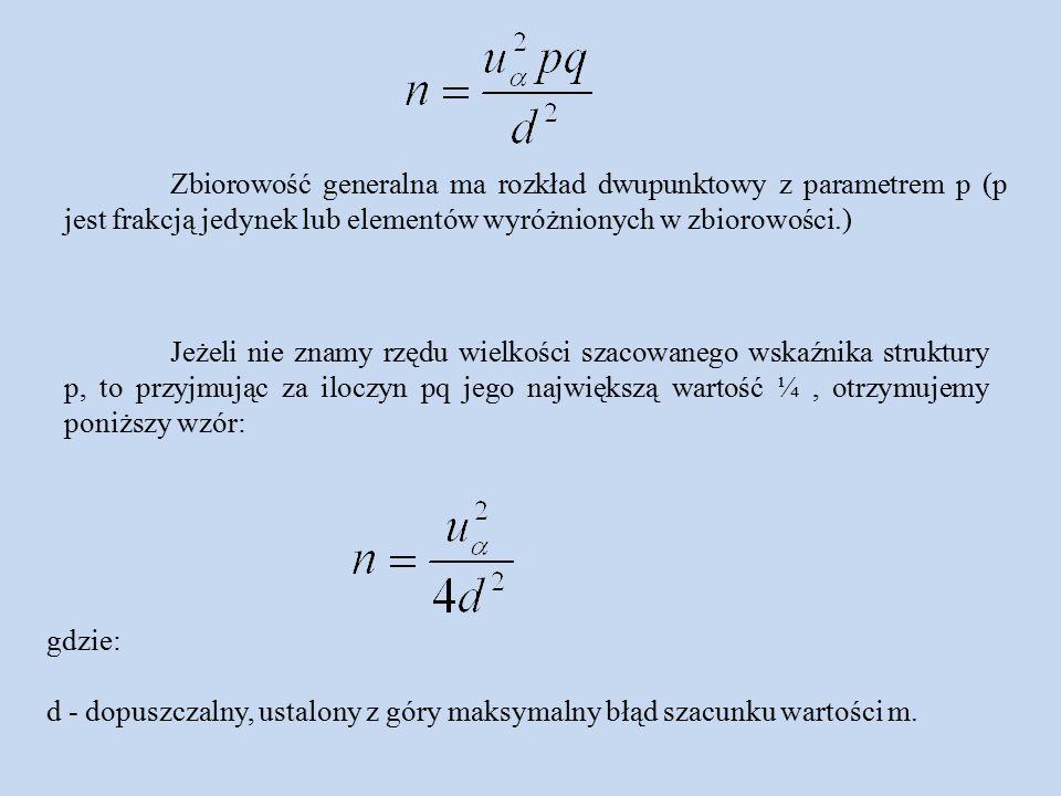 gdzie: d - dopuszczalny, ustalony z góry maksymalny błąd szacunku wartości m.