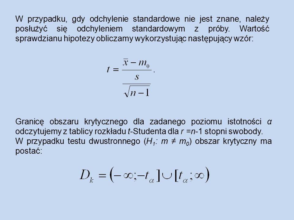 W przypadku, gdy odchylenie standardowe nie jest znane, należy posłużyć się odchyleniem standardowym z próby.
