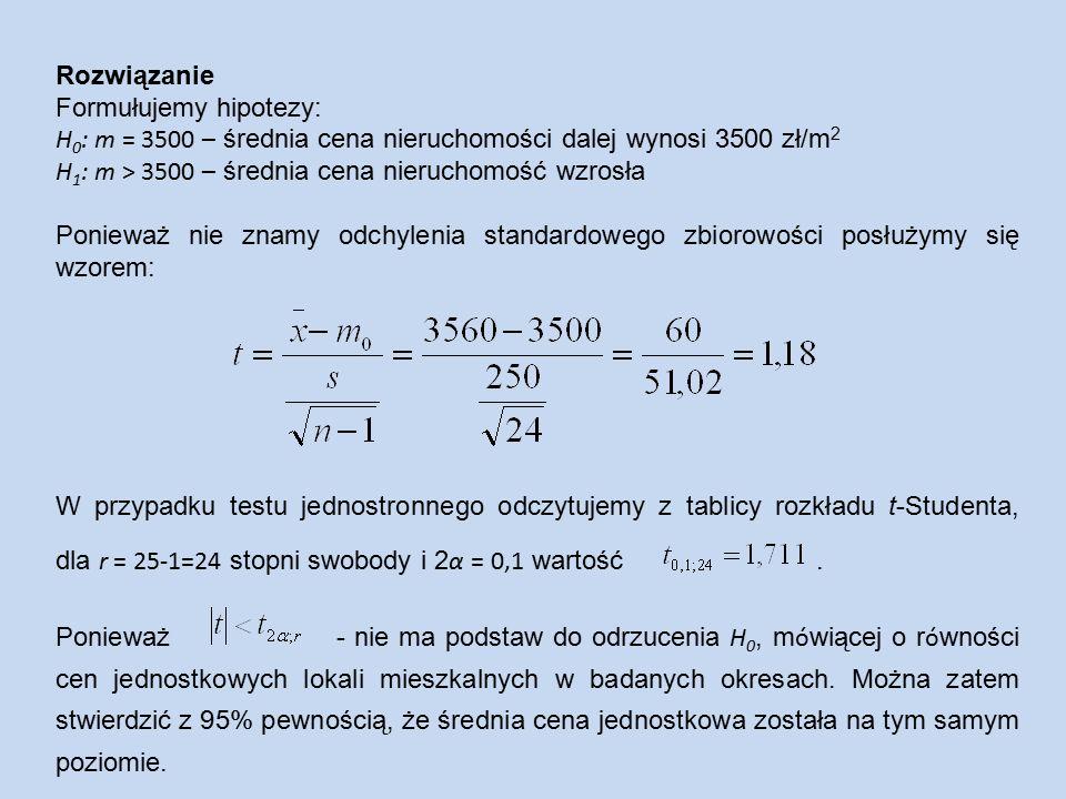 Rozwiązanie Formułujemy hipotezy: H 0 : m = 3500 – średnia cena nieruchomości dalej wynosi 3500 zł/m 2 H 1 : m > 3500 – średnia cena nieruchomość wzrosła Ponieważ nie znamy odchylenia standardowego zbiorowości posłużymy się wzorem: W przypadku testu jednostronnego odczytujemy z tablicy rozkładu t-Studenta, dla r = 25-1=24 stopni swobody i 2 α = 0,1 wartość.
