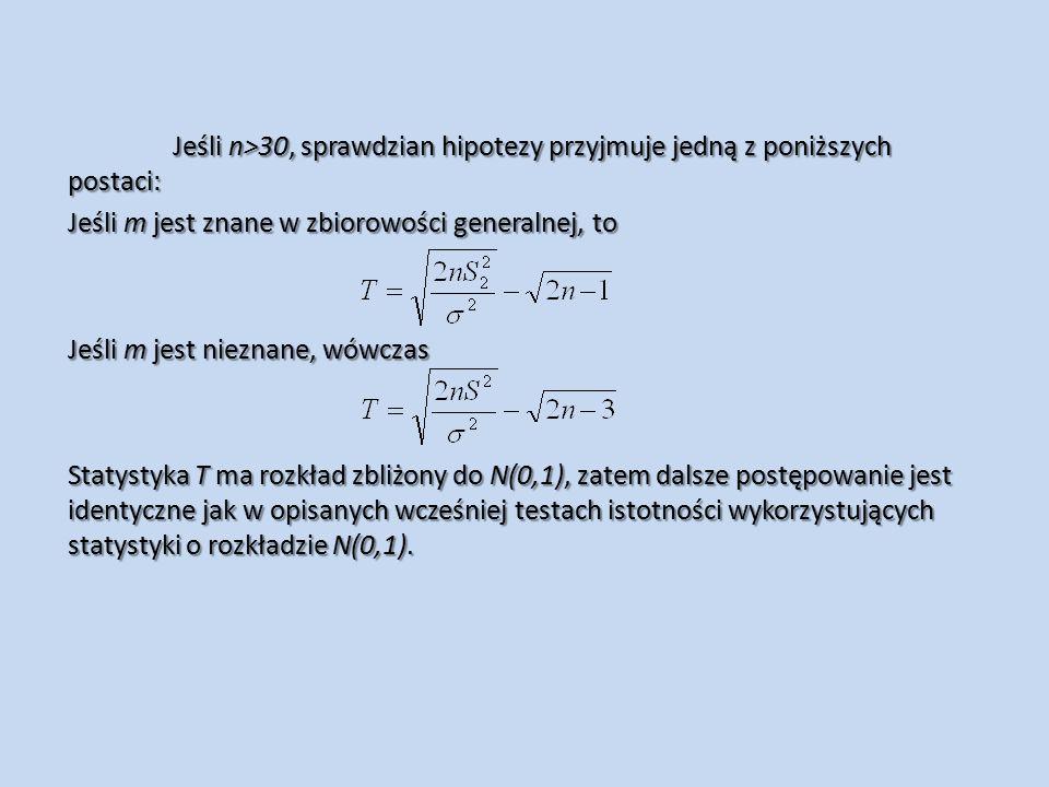 Jeśli n>30, sprawdzian hipotezy przyjmuje jedną z poniższych postaci: Jeśli m jest znane w zbiorowości generalnej, to Jeśli m jest nieznane, wówczas Statystyka T ma rozkład zbliżony do N(0,1), zatem dalsze postępowanie jest identyczne jak w opisanych wcześniej testach istotności wykorzystujących statystyki o rozkładzie N(0,1).