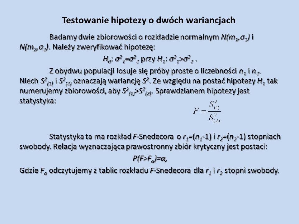 Testowanie hipotezy o dwóch wariancjach Badamy dwie zbiorowości o rozkładzie normalnym N(m 1,σ 1 ) i N(m 2,σ 2 ).