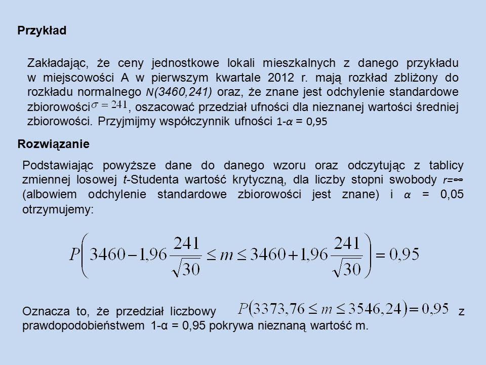 Zakładając, że ceny jednostkowe lokali mieszkalnych z danego przykładu w miejscowości A w pierwszym kwartale 2012 r.