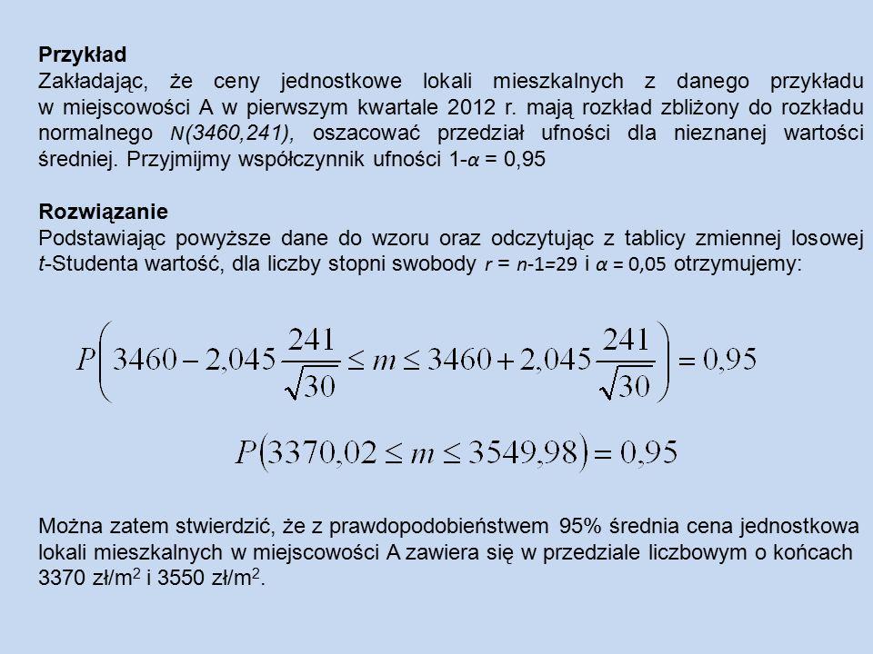 Przykład Zakładając, że ceny jednostkowe lokali mieszkalnych z danego przykładu w miejscowości A w pierwszym kwartale 2012 r.