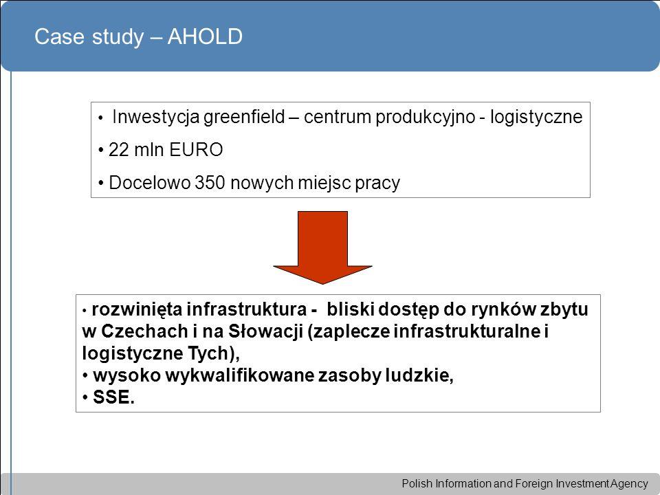 Polish Information and Foreign Investment Agency Case study – AHOLD Inwestycja greenfield – centrum produkcyjno - logistyczne 22 mln EURO Docelowo 350