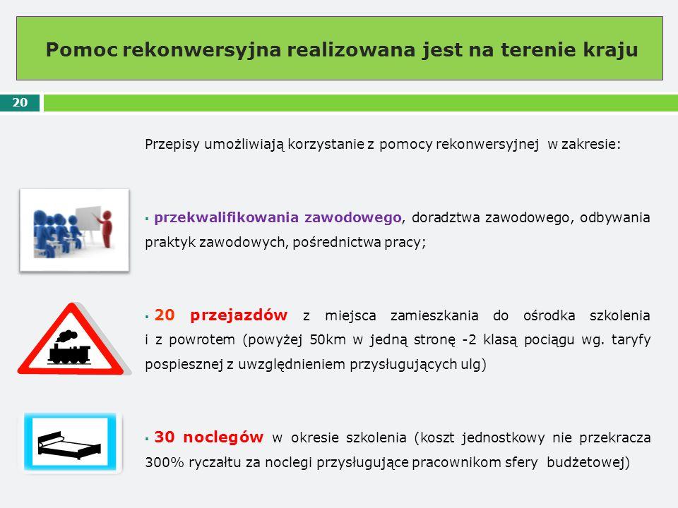 Pomoc rekonwersyjna realizowana jest na terenie kraju 20 Przepisy umożliwiają korzystanie z pomocy rekonwersyjnej w zakresie:  przekwalifikowania zaw