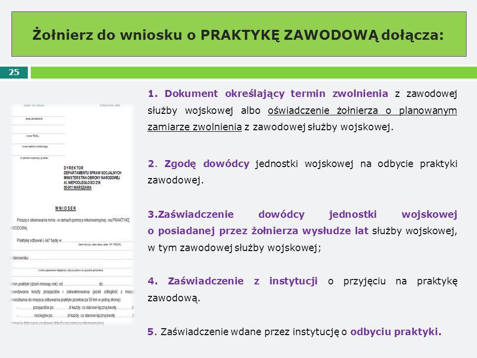 Żołnierz do wniosku o PRAKTYKĘ ZAWODOWĄ dołącza: 25 1. Dokument określający termin zwolnienia z zawodowej służby wojskowej albo oświadczenie żołnierza