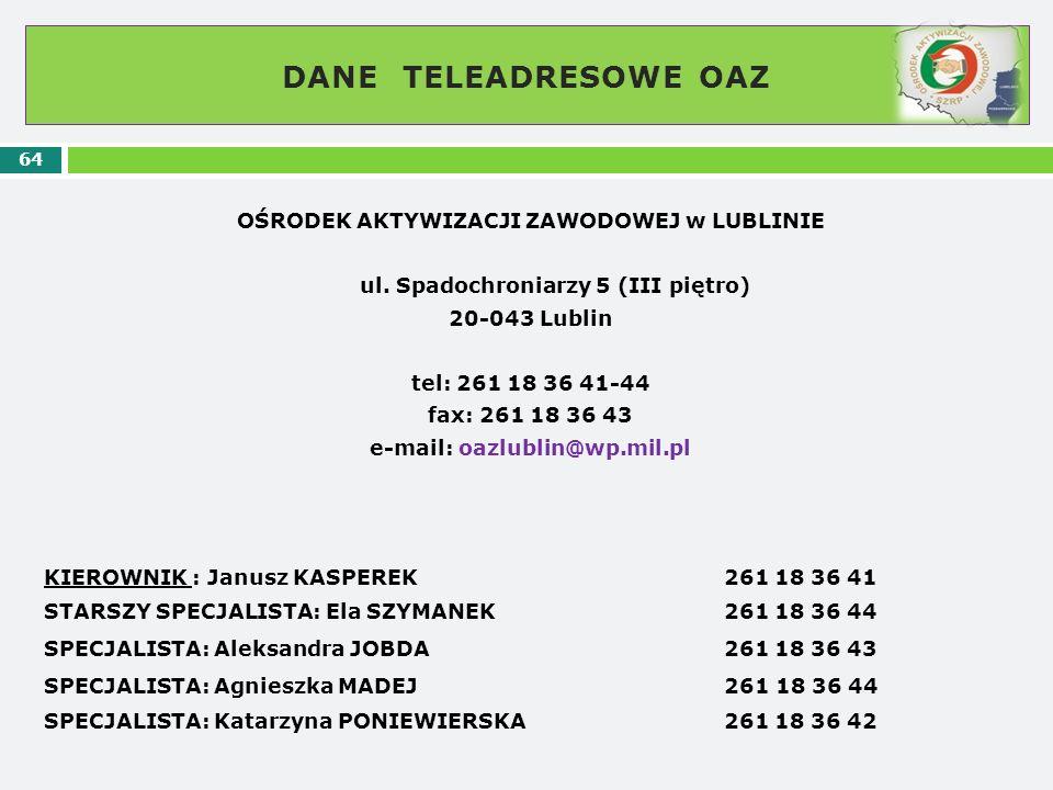 DANE TELEADRESOWE OAZ 64 OŚRODEK AKTYWIZACJI ZAWODOWEJ w LUBLINIE ul. Spadochroniarzy 5 (III piętro) 20-043 Lublin tel: 261 18 36 41-44 fax: 261 18 36