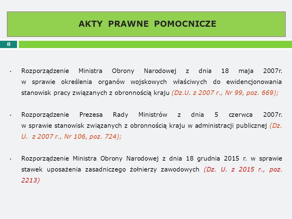 AKTY PRAWNE POMOCNICZE 8  Rozporządzenie Ministra Obrony Narodowej z dnia 18 maja 2007r. w sprawie określenia organów wojskowych właściwych do ewiden