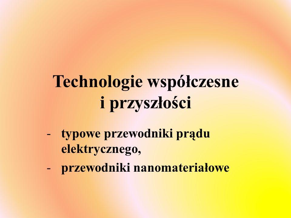 Technologie współczesne i przyszłości -typowe przewodniki prądu elektrycznego, -przewodniki nanomateriałowe