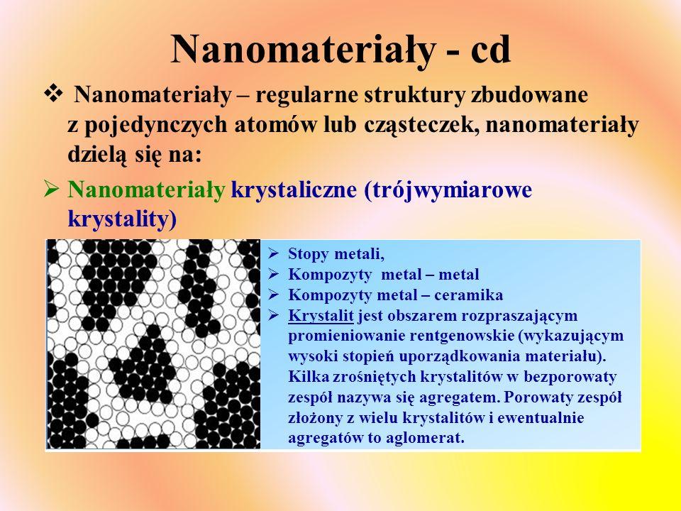 Nanomateriały - cd  Nanomateriały – regularne struktury zbudowane z pojedynczych atomów lub cząsteczek, nanomateriały dzielą się na:  Nanomateriały krystaliczne (trójwymiarowe krystality)  Stopy metali,  Kompozyty metal – metal  Kompozyty metal – ceramika  Krystalit jest obszarem rozpraszającym promieniowanie rentgenowskie (wykazującym wysoki stopień uporządkowania materiału).