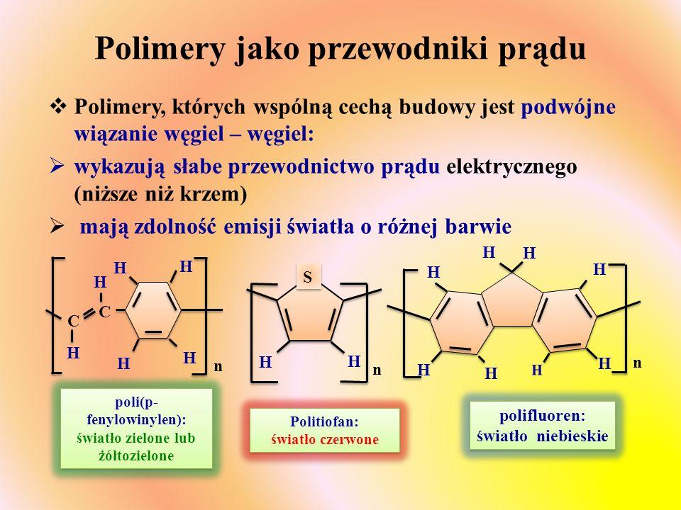Polimery jako przewodniki prądu  Polimery, których wspólną cechą budowy jest podwójne wiązanie węgiel – węgiel:  wykazują słabe przewodnictwo prądu elektrycznego (niższe niż krzem)  mają zdolność emisji światła o różnej barwie C H H H H H n C H H H S S n H H H H H H H n Politiofan: światło czerwone poli(p- fenylowinylen): światło zielone lub żółtozielone polifluoren: światło niebieskie polifluoren: światło niebieskie