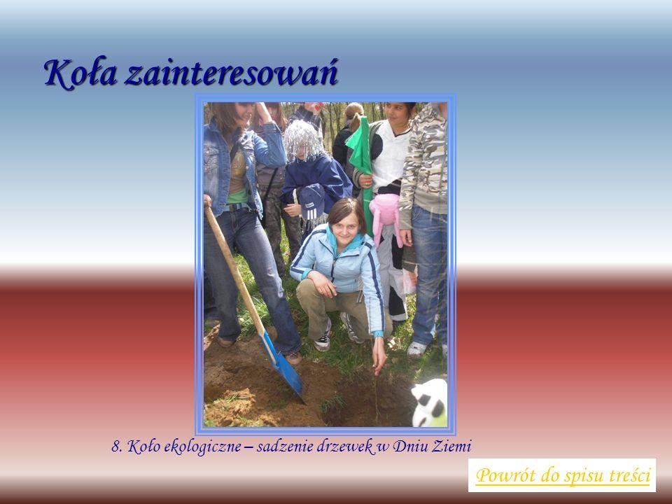 8. Koło ekologiczne – sadzenie drzewek w Dniu Ziemi Powrót do spisu treści Koła zainteresowań
