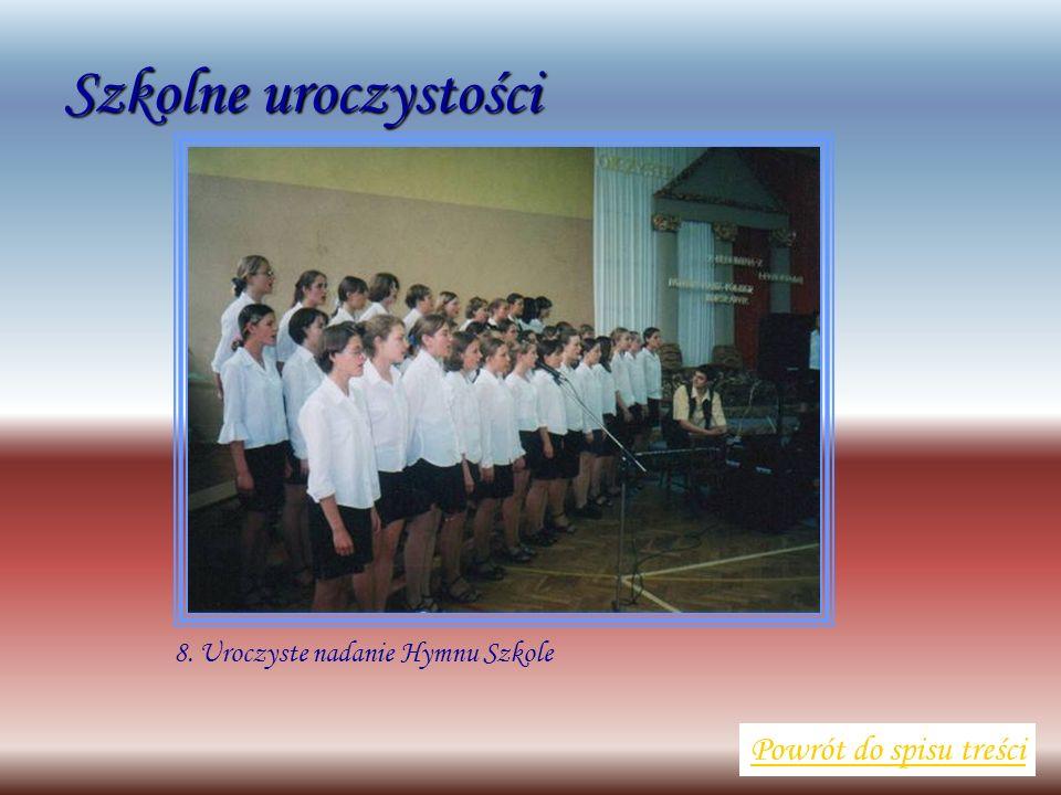 Szkolne uroczystości Powrót do spisu treści 8. Uroczyste nadanie Hymnu Szkole
