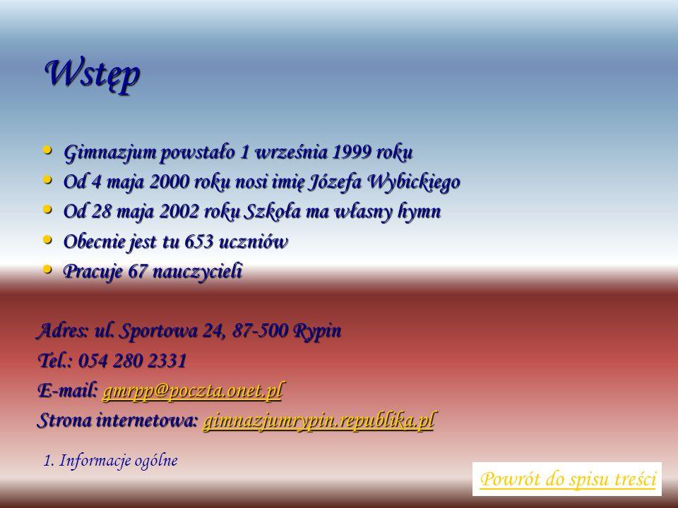 Wstęp Gimnazjum powstało 1 września 1999 roku Gimnazjum powstało 1 września 1999 roku Od 4 maja 2000 roku nosi imię Józefa Wybickiego Od 4 maja 2000 r