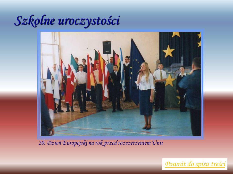 Szkolne uroczystości Powrót do spisu treści 20. Dzień Europejski na rok przed rozszerzeniem Unii