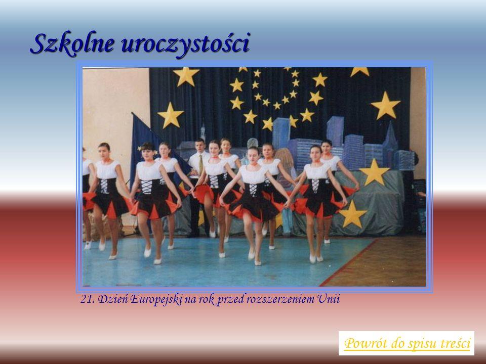 Szkolne uroczystości Powrót do spisu treści 21. Dzień Europejski na rok przed rozszerzeniem Unii