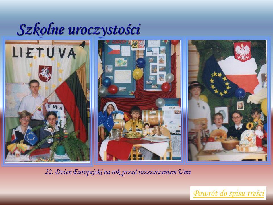 Szkolne uroczystości Powrót do spisu treści 22. Dzień Europejski na rok przed rozszerzeniem Unii