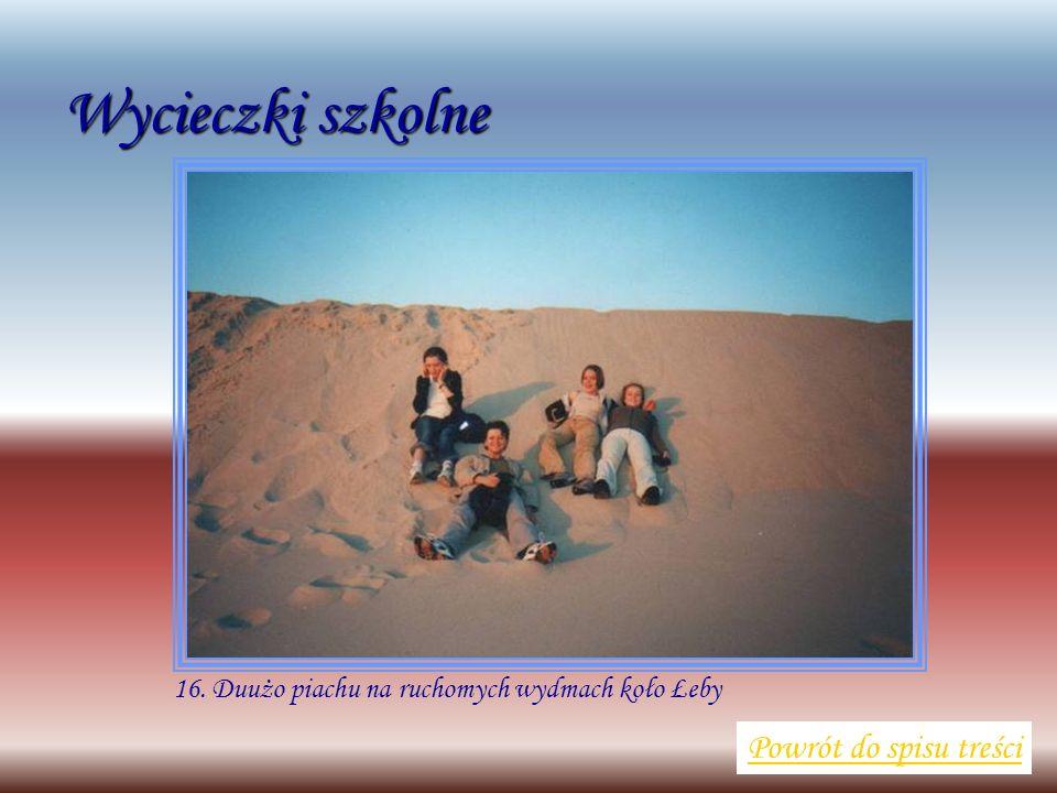 Wycieczki szkolne Powrót do spisu treści 16. Duużo piachu na ruchomych wydmach koło Łeby