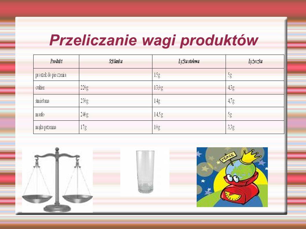Przeliczanie wagi produktów