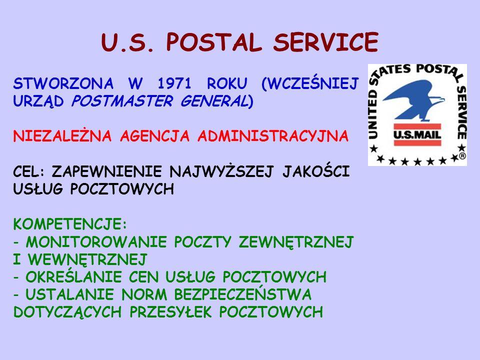 U.S. POSTAL SERVICE STWORZONA W 1971 ROKU (WCZEŚNIEJ URZĄD POSTMASTER GENERAL) NIEZALEŻNA AGENCJA ADMINISTRACYJNA CEL: ZAPEWNIENIE NAJWYŻSZEJ JAKOŚCI