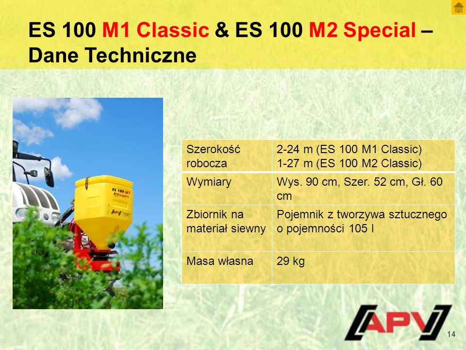 ES 100 M1 Classic & ES 100 M2 Special – Dane Techniczne 14 Szerokość robocza 2-24 m (ES 100 M1 Classic) 1-27 m (ES 100 M2 Classic) WymiaryWys.