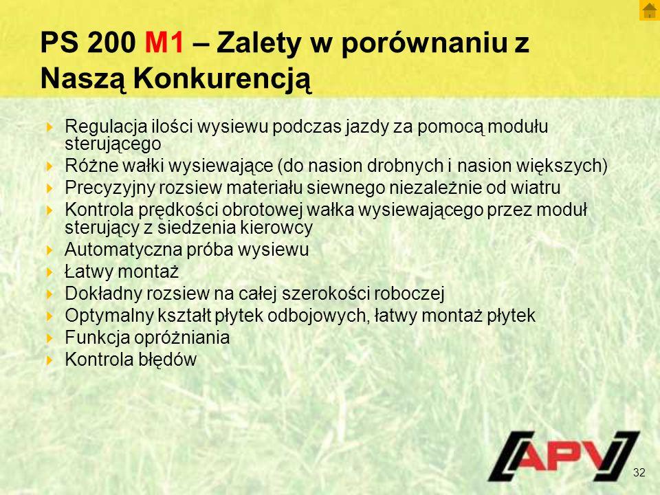 PS 200 M1 – Zalety w porównaniu z Naszą Konkurencją  Regulacja ilości wysiewu podczas jazdy za pomocą modułu sterującego  Różne wałki wysiewające (do nasion drobnych i nasion większych)  Precyzyjny rozsiew materiału siewnego niezależnie od wiatru  Kontrola prędkości obrotowej wałka wysiewającego przez moduł sterujący z siedzenia kierowcy  Automatyczna próba wysiewu  Łatwy montaż  Dokładny rozsiew na całej szerokości roboczej  Optymalny kształt płytek odbojowych, łatwy montaż płytek  Funkcja opróżniania  Kontrola błędów 32