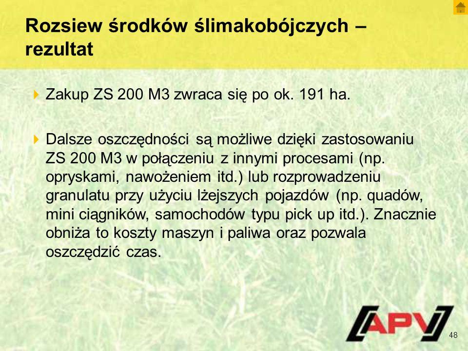 Rozsiew środków ślimakobójczych – rezultat  Zakup ZS 200 M3 zwraca się po ok.