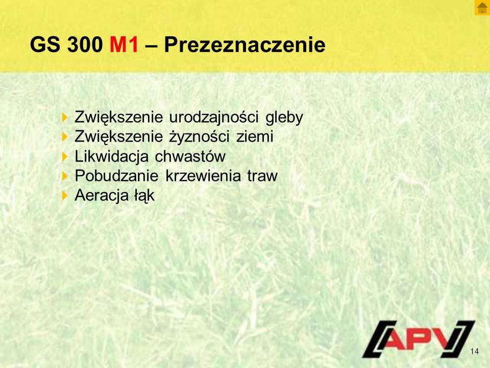 GS 300 M1 – Prezeznaczenie 14  Zwiększenie urodzajności gleby  Zwiększenie żyzności ziemi  Likwidacja chwastów  Pobudzanie krzewienia traw  Aeracja łąk