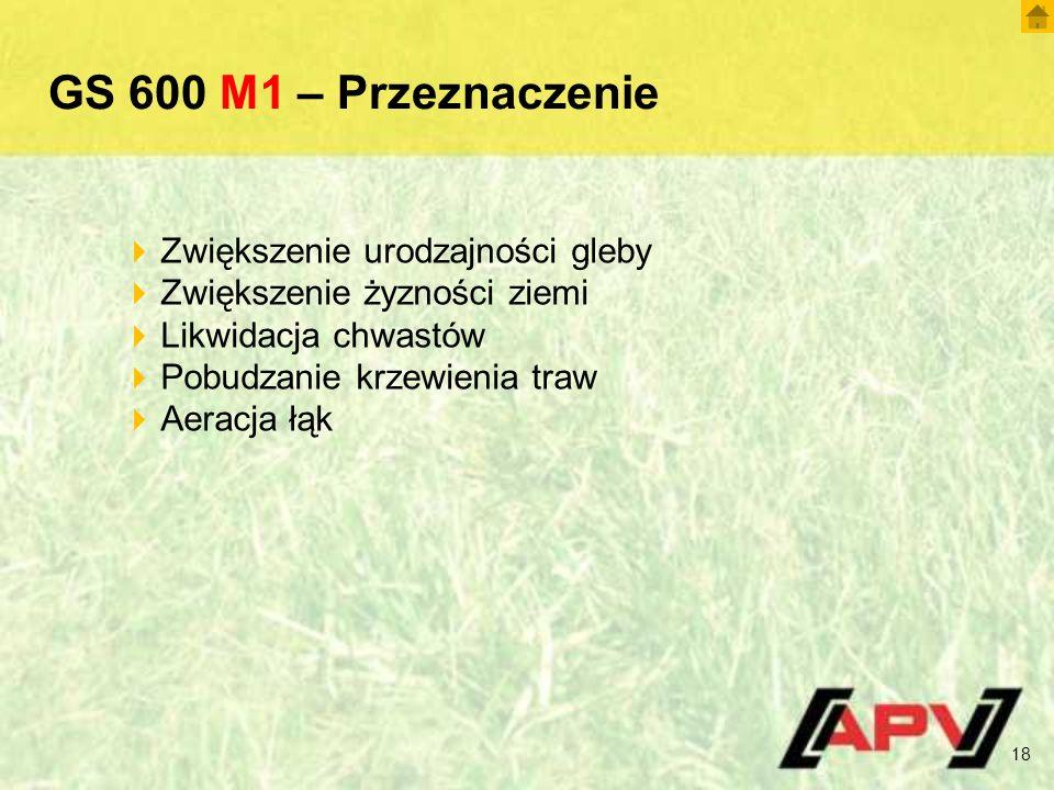 GS 600 M1 – Przeznaczenie 18  Zwiększenie urodzajności gleby  Zwiększenie żyzności ziemi  Likwidacja chwastów  Pobudzanie krzewienia traw  Aeracj