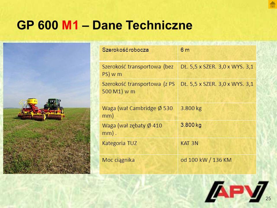 GP 600 M1 – Dane Techniczne 25 Szerokość robocza6 m Szerokość transportowa (bez PS) w m DŁ.