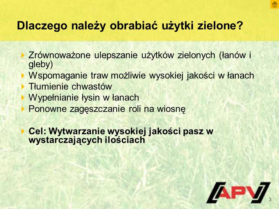 Dlaczego należy obrabiać użytki zielone? 3  Zrównoważone ulepszanie użytków zielonych (łanów i gleby)  Wspomaganie traw możliwie wysokiej jakości w