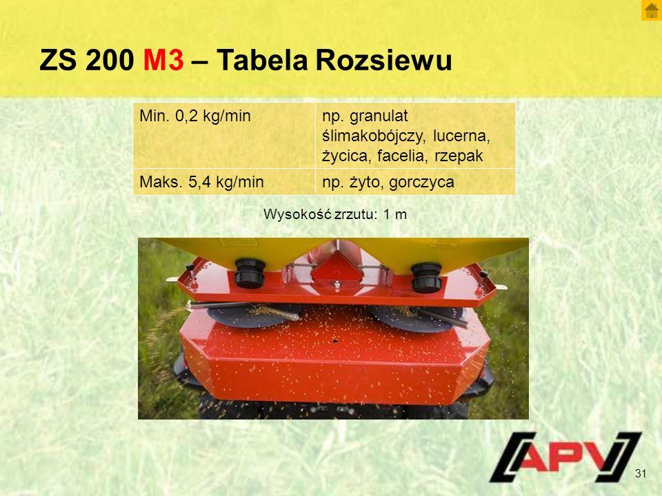 ZS 200 M3 – Tabela Rozsiewu 31 Wysokość zrzutu: 1 m Min. 0,2 kg/minnp. granulat ślimakobójczy, lucerna, życica, facelia, rzepak Maks. 5,4 kg/minnp. ży