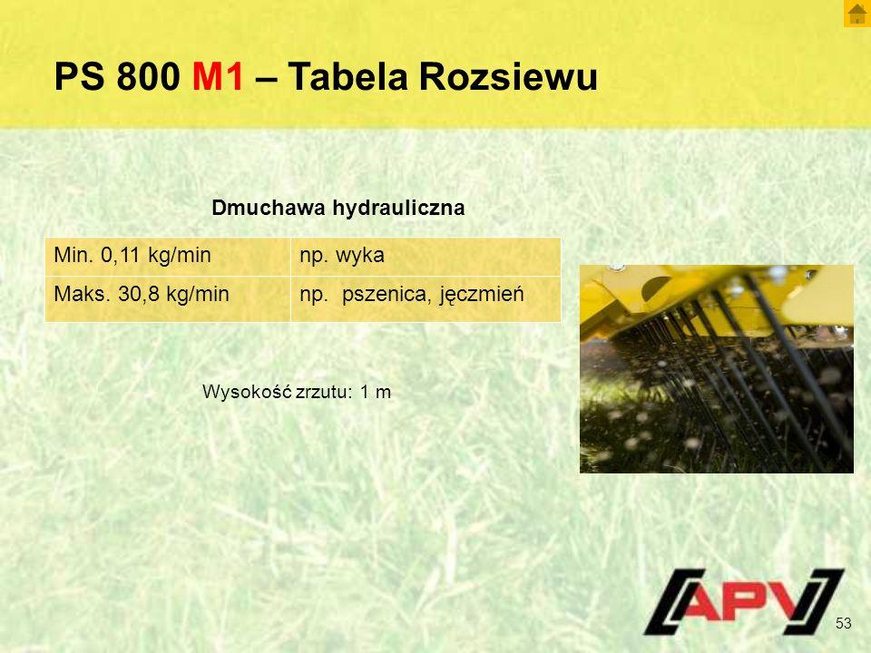 PS 800 M1 – Tabela Rozsiewu Min. 0,11 kg/minnp. wyka Maks. 30,8 kg/minnp. pszenica, jęczmień Dmuchawa hydrauliczna Wysokość zrzutu: 1 m 53