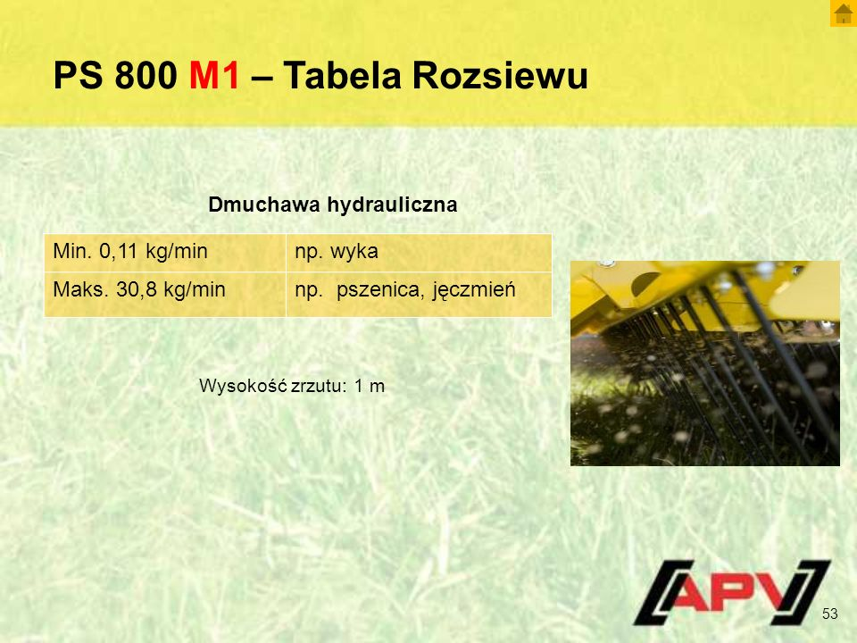 PS 800 M1 – Tabela Rozsiewu Min. 0,11 kg/minnp. wyka Maks.