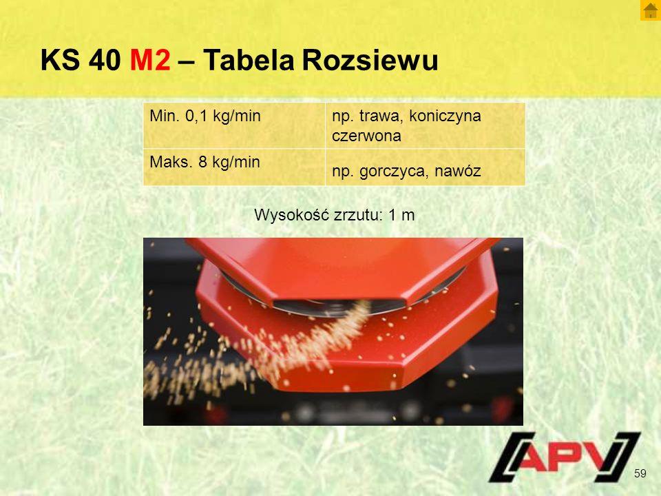 KS 40 M2 – Tabela Rozsiewu 59 Wysokość zrzutu: 1 m Min. 0,1 kg/minnp. trawa, koniczyna czerwona Maks. 8 kg/min np. gorczyca, nawóz
