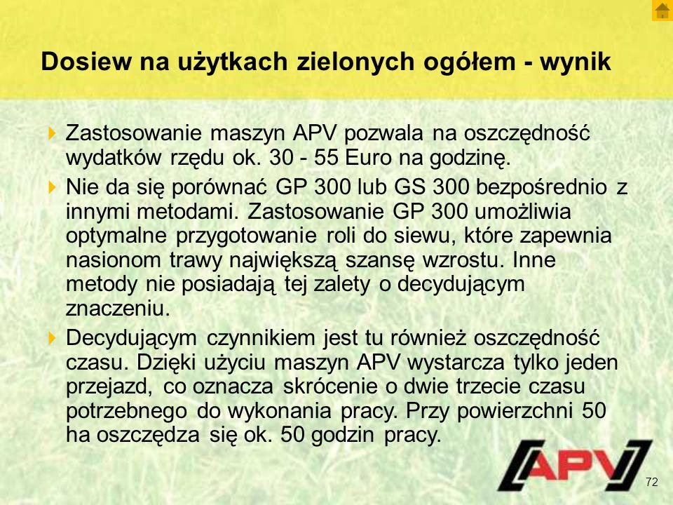 Dosiew na użytkach zielonych ogółem - wynik  Zastosowanie maszyn APV pozwala na oszczędność wydatków rzędu ok. 30 - 55 Euro na godzinę.  Nie da się