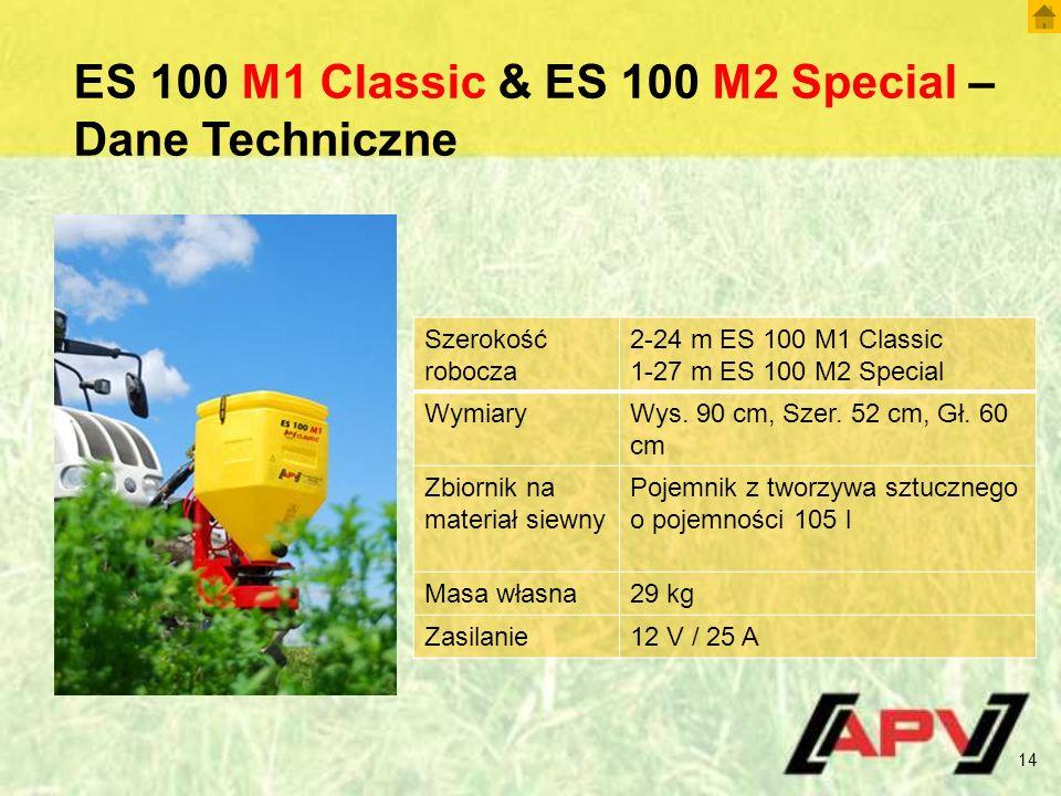 ES 100 M1 Classic & ES 100 M2 Special – Dane Techniczne 14 Szerokość robocza 2-24 m ES 100 M1 Classic 1-27 m ES 100 M2 Special WymiaryWys.