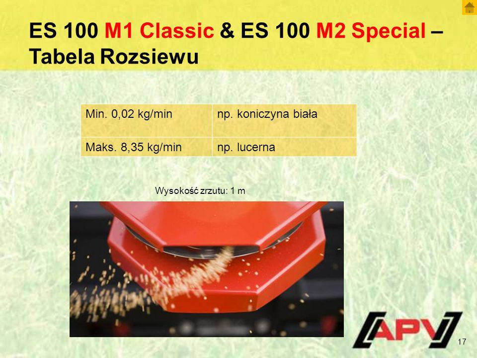 ES 100 M1 Classic & ES 100 M2 Special – Tabela Rozsiewu 17 Min.