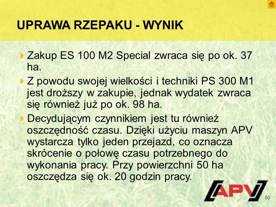 UPRAWA RZEPAKU - WYNIK  Zakup ES 100 M2 Special zwraca się po ok.
