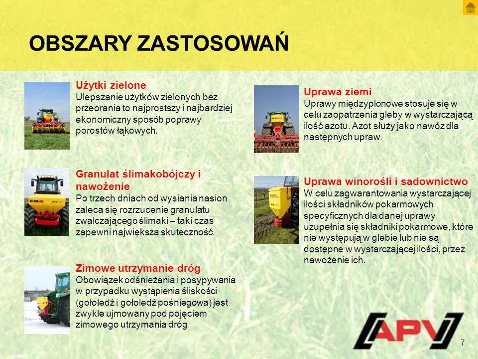 OBSZARY ZASTOSOWAŃ 7 Użytki zielone Ulepszanie użytków zielonych bez przeorania to najprostszy i najbardziej ekonomiczny sposób poprawy porostów łąkowych.